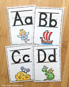 These Alphabet Posters and Letter Cards may be printed in large scale for classroom decor posters, or print multiple pages on one sheet (I prefer 4) to laminate and use them as alphabet / letter practice cards.    The graphics illustrate these words: angel, boat, cheese, dragon, eagle, fruit, goat, heart, iguana, jacket, king, lion, monkey, nose, octopus, paint, quilt blanket, rocket, sun, tree, umbrella, volcano, wave, xylophone, yogurt.
