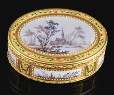 Antique gold & enamel imperial presentation box by Louis Ouizille, Paris, 1779.  It was once owned by Catherine the Great of Russia.  Lenght 3-1/4in.