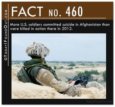 FACT #460: More U.S. soldiers committed suicide in Afghanistan than were killed in action there in 2012.