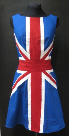 Custom made cool britannia british union jack british flag dress. (Looks like something Ginger Spice would wear! Blackpool, Great British, British Style, British Flag Dress, Union Jack Dress, Divas, Union Flags, British Things, British Invasion