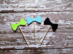 Bow Food Picks  lil man lime aqua black bow by MoosesCreations