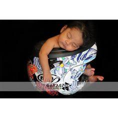 Motorcycle helmet baby photo idea | Arai helmet shown here | #motobaby #bikerbaby
