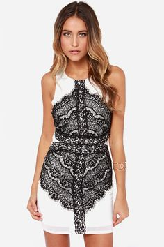 Lovely Black and White Dress - Lace Dress - Bodycon Dress - $67.00