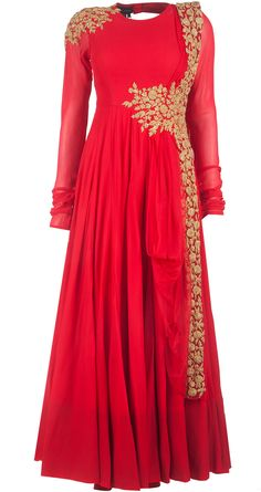Red embroidered anarkali by RIDHI MEHRA. Shop at http://www.perniaspopupshop.com/whats-new/ridhi-mehra-red-embroidered-anarkali-rmc0913s20.html