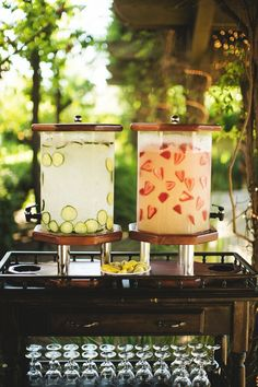 Serve up strawberry lemonade and cucumber-infused water to the guests as they arrive at the ceremony.