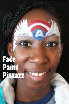 This girl version of a Captain America design was inspired by the original version by the amazing face painting artist Arhjay.  Reserve face painting for your NW Chicago suburbs event by contacting Beth at facepaintpizzazz.com.