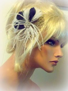 Black White Vintage Style Bridal Hair Fascinator by kathyjohnson3