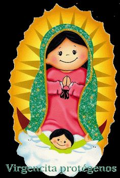 Our lady of guadalupe childish vector Virgin Mary Art, Blessed Virgin Mary, Arte Do Mickey Mouse, Church Pictures, Catholic Pictures, Mama Mary, Christian Crafts, Catholic Kids, Mexican Art