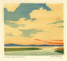 Color woodcut - Alameda Marsh by William Seltzer Rice, ca. 1920