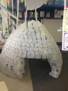 Milk bottle igloo made by Kindy and Pre Primary Class