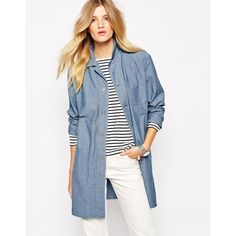 Bethnals Graham Button Front Denim Duster Coat (€64) ❤ liked on Polyvore featuring outerwear, coats, blue, oversized coat, oversized denim coat, denim duster coat, duster coat and blue coat