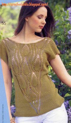 As Receitas de Crochê: Blusa de crochê com detalhe em ponto abacaxi