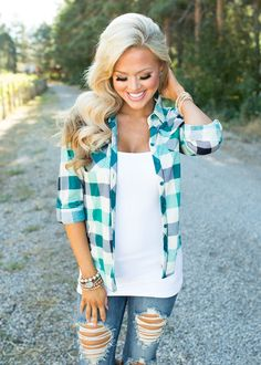Top, Plaid Top, Teal and blue Top, 3/4 Sleeve Top, Button Up Top, cute, Fashion, Online Boutique