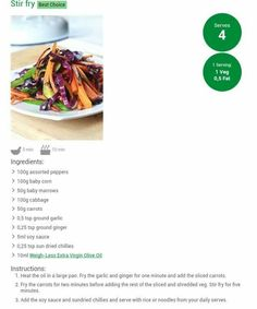 (notitle) - Weigh-Less - Salat Dried Chillies, Healthy Dinner Recipes, Healthy Meals, Flat Belly Diet, Sun Dried, Stir Fry, Get Healthy, Recipies, Healthy Living