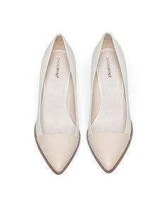 cream + blush wedge heels
