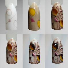 Cat Nail Art, Animal Nail Art, Cat Nails, Gorgeous Nails, Love Nails, Pretty Nails, Paws And Claws, Creative Nails, Nail Tutorials