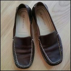 AK Anne Klein  Flats Expresso brown soft leather w/white stitching  flats. Great condition. AK Anne Klein  Shoes Flats & Loafers