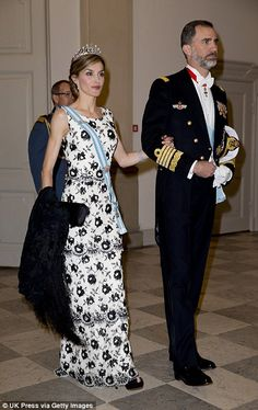 Gala: Spain's King Felipe VI and Queen Letizia put on the glitz on Wednesday evening  in C...