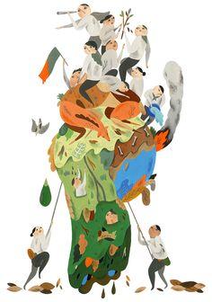 最近幫美國華盛頓郵報畫這張插圖,一則關於人口與地球環境議題的書評,會在這禮拜天以刊頭封面的方式出現,期待拿到報紙 !  / Book review: 'Countdown: Our Last, Best Hope for a Future on Earth?' by Alan Weisman / www.washingtonpost.com/opinions/book-review-countdown-our...