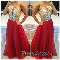 Elegant chiffon beaded long senior lace prom dress