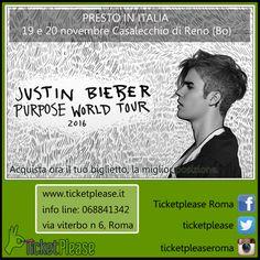 """Ticket """" JUSTIN BIEBER """"  info line: 068841342 www.ticketplease.it mail: info@ticketplease.it La nostra sede: via Viterbo n.6, Roma. Spediamo in tutta Italia con Bartolini. Justin Bieber ha annunciato le date internazionali del suo Purpose World Tour  Le date: 19 e 20 novembre Casalecchio di Reno (Bo), Unipol Arena #tour #teatro #spettacolo #musica #rock @justinbieber #Purpose #PurposeWorldTour #JustinBieber @justinbieberID"""