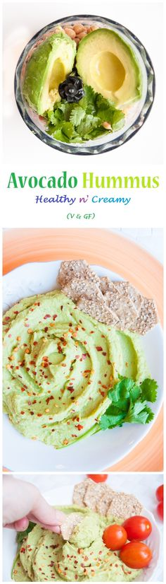 Healthy Avocado Hummus Recipe without Tahini! My husband loves Avocado Hummus and makes a pound at a time so it tastes fresh, healthy and is always available as a healthy snack. Avocado Recipes, Whole Food Recipes, Vegetarian Recipes, Cooking Recipes, Healthy Recipes, Jalapeno Recipes, Family Recipes, Healthy Hummus Recipe, Vitamix Recipes