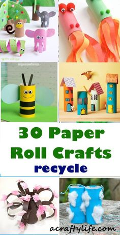 30 paper roll crafts - There are 30 different creative crafts made out of paper rolls. Great Earth Day crafts to encourage reusing materials