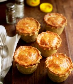 Beef pies with hot-water crust pastry