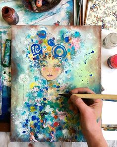 In the studio today... trying out a few new color combinations like pastel hues mixed with my favorite cobalt blue.