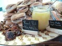 This is a picture of our Hog in a Bun display with apple sauce, crackling and stuffing.