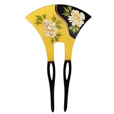 YOY Fashion Hair Decor Japanese Traditional Style Hair Sticks Pins Picks Pics Forks for Women Girls Hair Accessory Two Prong with Floral, Yellow and Black Wholesale Hair Accessories, Organizing Hair Accessories, Hair Accessories For Women, Geisha Hair, Hair Care Routine, Hair Sticks, Hair Comb, Hair Designs, Black N Yellow