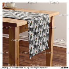 Ladybug On Flower Black White Nature Pattern Short Table Runner.  From Smilin' Eyes Treasures at Zazzle.