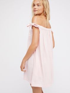 Endless Summer Baby Pink Just Right Off The Shoulder Mini Dress at Free People Clothing Boutique