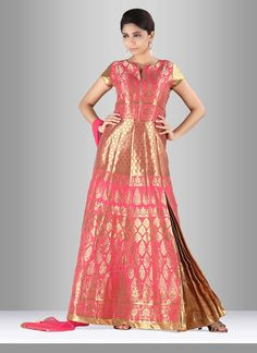 Appear stunningly attractive with this silk anarkali suit. That you can see some…