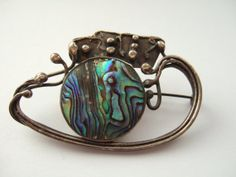 Stunning Art Nouveau 925 sterling silver and abalone brooch. Handmade. #49.