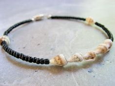 Sea Shell Ankle Bracelet with Black Beads Seashell Anklet