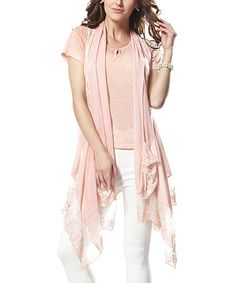 Look what I found on #zulily! Pink Lace Vest & Crewneck Tee by Simply Couture #zulilyfinds