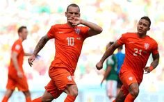 Wesley Sneijder celebrates his bullet-like strike for Holland.