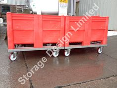 Red dolav pallet boxes from storage design limited supplied with stainless steel mobile bases Pallet Boxes, Storage Design, Toy Chest, Storage Chest, Stainless Steel, Red, Furniture, Home Decor, Decoration Home