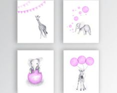 Canvas Art, Elephant Nursery Decor, Baby Girl Nursery Art, Zebra Nursery Art, Giraffe Wall Art, Set of Four