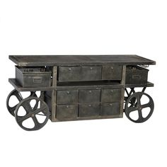 Industrial Trolley Cart with Drawers.  Mesh baskets and nine drawers for display and storage.  Perfect to display merchandise at your business or for decorative storage at home.  Industrial furniture MIXfurniture.com