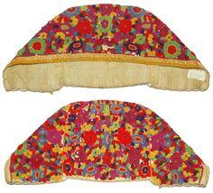 ANTIQUE 19th C. Slovak Folk Costume Bonnet embroidered cap floral hat KROJ art
