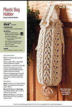 """Crochet plastic bag holder  ..............."""" 7. elegant bag holder"""""""