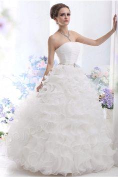 Ball Gown Strapless Floor Length Ruffled Organza Wedding Dress CWXF13002