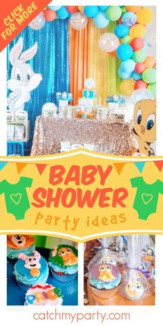 Check out this adorable Looney Tunes baby shower! The cupcakes are so cute! See more party ideas and share yours at CatchMyParty.com   #catchmyparty #partyideas #LooneyTunes #looneytunesparty #babyshower
