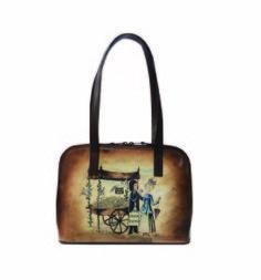 Ručne maľovaná kabelka 8574 s motívom Milenci na lavičke - hnedá