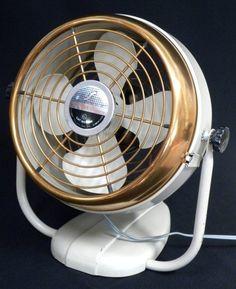Vintage 1950's Deco Brass Face Electric Fan Silex Chicago Elec. Div.