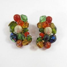 Bead Earrings Germany Multi Color Glass Plastic Beads Signed Clip Ons 9124 #Germany #ClipOn