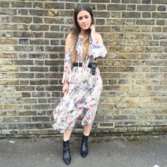 Miss Selfridge floral tiered dress styled for daytime with boots & a belt <3