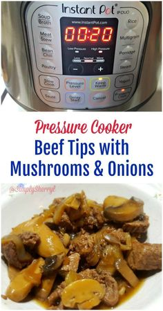 Beef Tips with Mushrooms and Onions. Looking for a simple to the dinner table meal? Try Beef Tips with Mushrooms and Onions in the pressure cooker for a simple, yet delicious dish. Power Cooker Recipes, Pressure Cooking Recipes, Cooking Tips, Power Pressure Cooker, Instant Pot Pressure Cooker, Pressure Cooker Ribs, Pressure Pot, Beef Tips And Gravy, Beef Gravy